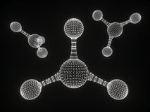Abstract polygonal molecule structure icon. low poly biological connected cell. Connection technology mesh geometric DNA. 3D render. Polygonal science royalty free stock images