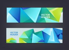 Abstract polygonal, mosaic, geometric, triangular 3d pattern banners collection. Facet web headers, horizontal, crystal. Shape frames isolated royalty free illustration