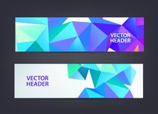 Abstract polygonal, mosaic, geometric, triangular 3d pattern banners collection. Facet web headers, horizontal, crystal. Shape frames isolated vector illustration