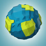 Abstract polygonal planet  on dark blue background Stock Image