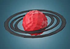 Abstract polygonal planet with rings Stock Photo