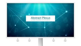 Abstract polygonal plexus shapes. Big billboard with concept of business communication, network, mobile links. Design of royalty free illustration