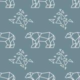 Abstract polygonal polar bear seamless pattern. Vector illustration Royalty Free Stock Photography