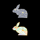 Abstract polygonal rabbit  on black background. Side view Royalty Free Stock Photography