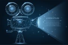 Abstract polygonal Retro cinema projector. Movie time. Cinema, movie, festival poster. Abstract polygonal Retro cinema projector. Low poly wireframe vector vector illustration