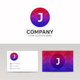 Abstract polygonal round circle J letter icon company logo sign Royalty Free Stock Image
