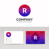 Abstract polygonal round circle R letter icon company logo sign Stock Photo