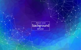 Abstract Polygonal Space Blue Background with Connecting Dots and Lines | Network - Data Visualization Illustration.  vector illustration