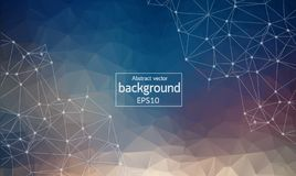 Abstract Polygonal Space Blue Background with Connecting Dots and Lines. | Network - Data Visualization Illustration stock illustration