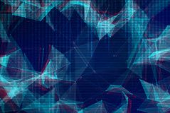Abstract polygonal space low poly background. Connecting dots and lines in triangular structures. Illustration with trendy glitched effect, dead pixels, noise Stock Illustration