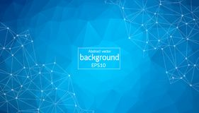 Abstract polygonal space low poly dark background with connecting dots and lines. Connection structure stock illustration