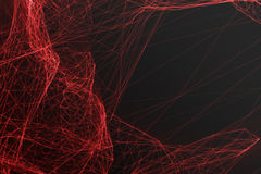 Abstract polygonal space low poly dark background with connecting dots and lines. Connection structure, shine effects. 3d rendering Royalty Free Stock Photography