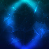 Abstract polygonal space low poly dark background Stock Images