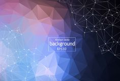 Abstract Polygonal Space Red and Blue Background with Connecting Dots. and Lines | EPS10 Vector Illustration. Abstract Polygonal Space Red and Blue Background royalty free illustration