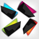 Abstract polygonal speech banner with black color Royalty Free Stock Images