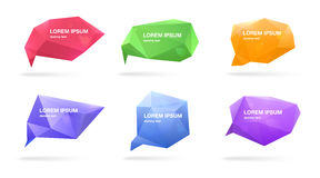Abstract polygonal speech bubbles set. 3d figures with place for text. Colorful vector illustrations. Abstract polygonal speech bubbles set. 3d figures with stock illustration