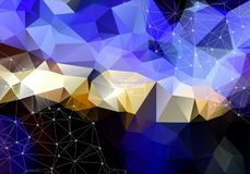 Abstract polygonal surface background. Low poly mesh design with connecting dot and line. Connection triangle structure. Vector ge. Ometry futuristic decoration stock illustration