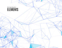 Abstract polygonal techno background. Futuristic style card. Business presentations. Lines, point, planes in 3d space. Cybernetic dots, creative banner Stock Photo