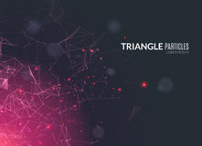 Abstract polygonal techno background. Futuristic style card. Business presentations. Lines, point, planes in 3d space. Cybernetic dots, creative banner Stock Photography