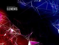 Abstract polygonal techno background. Futuristic style card. Business presentations. Lines, point, planes in 3d space. Cybernetic dots, creative banner Royalty Free Stock Photo