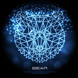 Abstract polygonal tirangle animal bear neon sign. Hipster animal. Vector illustration stock illustration