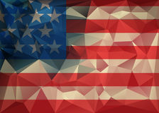 Abstract polygonal triangle USA flag background, Geometric low poly illustration. Polygonal poster Royalty Free Stock Images