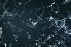 Abstract polygonal wallpaper. With connections. AI and innovation concept. 3D Rendering stock illustration