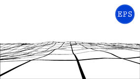 Abstract polygonal wave wireframe background. Vector illustration. Stock Image