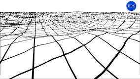Abstract polygonal wave wireframe background. Vector illustration. Royalty Free Stock Image