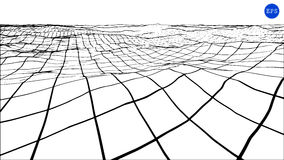 Abstract polygonal wave wireframe background. Vector illustration. Stock Photography