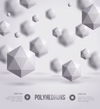 Abstract polyhedrons background design. Stock Images