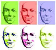 Abstract Pop Art Happy Face Woman vector illustration