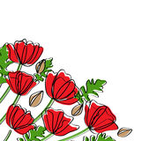 Abstract poppy corner decoration Stock Images