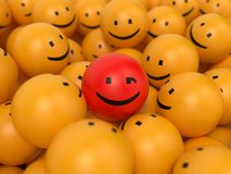 Abstract Popularity Concept. Many Yellow Balls with One Red Ball in the Center Royalty Free Stock Images