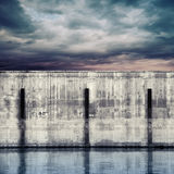 Abstract port fragment. Gray concrete mooring wall Stock Photo