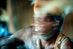 Abstract Portrait of the Asmat warrior Stock Images