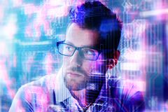 Abstract portrait of attractive young businessman royalty free stock photography