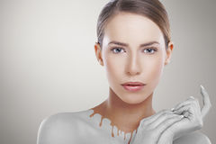 Abstract portrait of beautiful Caucasian female model. Stock Photos