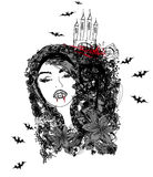 Abstract portrait of a beautiful female vampire. Illustration royalty free illustration