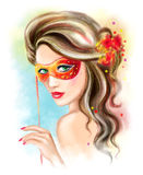 Abstract portrait Beauty woman wearing venetian masquerade carnival mask at party over holiday Christmas and New Year celebration. Royalty Free Stock Photo