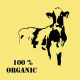 Abstract portrait of big cow. Black and white silhouette. Royalty Free Stock Images
