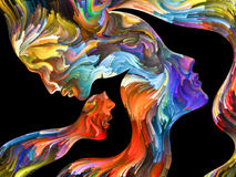 Abstract Portrait. Colors In Us series. Interplay of Human profiles and swirls of colorful paint on the subject of emotion, passion, desire, feelings, inner Royalty Free Stock Photo