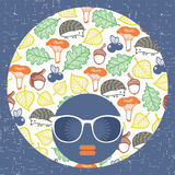 Abstract portrait of dark skin woman in hipster sunglasses. Vector illustration Stock Photo