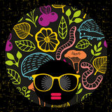 Abstract portrait of dark skin woman in hipster sunglasses. Vector illustration Royalty Free Stock Photography