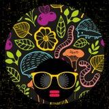 Abstract portrait of dark skin woman in hipster sunglasses. Vector illustration stock illustration