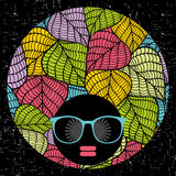 Abstract portrait of dark skin woman in hipster sunglasses. Vector illustration Stock Photos
