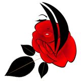 Abstract portrait of a girl with a red rose and black leaves. Abstract portrait of a girl with a red rose and black leaves, beautiful illustration stock illustration