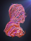 Abstract portrait. Interlacing pink curves. 3D rendering. Abstract psychedelic portrait of alternating multicolored curves. 3D rendering Royalty Free Illustration