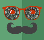 Abstract portrait of man in sunglasses and with moustache. Royalty Free Stock Image