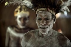 Abstract  Portrait of a man from the tribe of Asmat Royalty Free Stock Image